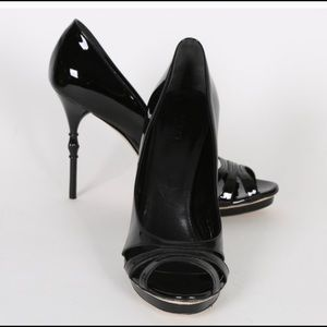 Gucci Patent Leather Bamboo Carved Heels